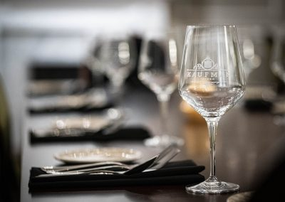 wine glass and place setting